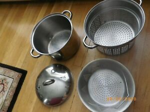 8 QT 4 Piece Stainless Steel Steamer Set Stock Pot Cooking Stew Soups Pasta Used