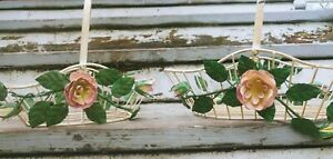 Set Of 2 Shabby Chic Metal Wire Baskets With Pink Roses
