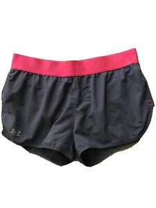 Under Armour Heat Gear Womens LG Running Athletic Shorts Lined Semi Fitted EX $19.99