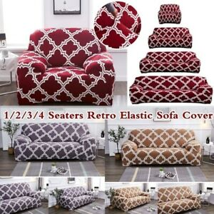 1 4Seaters Sofa Covers Retro Slip Resistant Elastic Spandex Couch Slipcover US $32.93