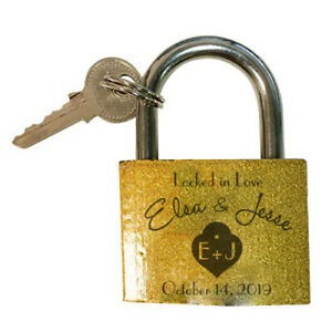 Custom Engraved Couples Brass Keyed Padlock with Your Names Initials Date