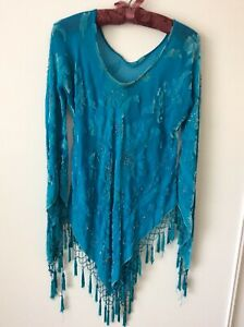 Womens Vintage Antique Top Beaded Fringed Turquoise