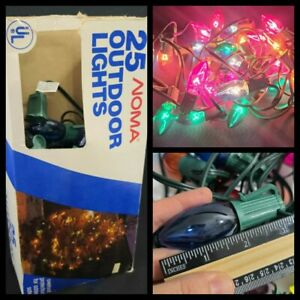 Noma Vintage Christmas String Lights 25 Outdoor Glass Bulbs Multicolored Working