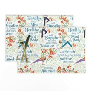 Cloth Placemats Inspirational Quotes Fitness Motivation Yoga Exercise Set of 2