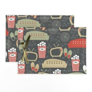 Cloth Placemats Snack Couch Tv Popcorn Slippers Papercanoe Shop Retro Set of 2
