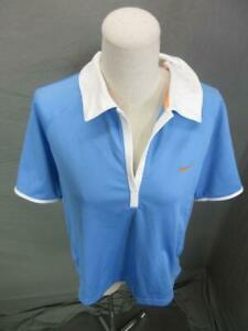 Nike XL Womens Blue Athletic Sphere Dry Short Sleeve Training Polo Shirt 326 $16.14