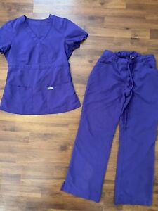 Womens Size Xs Small Short Greys Anatomy Purple Scrub Set Shirt Pants Read