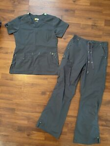 Womens Size Xs Small Wonder Flex Gray Scrubs Set Shirt Pants