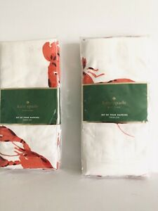 KATE SPADE Napkins Lobster Fete 4x Set Home Red White 100% Cotton 20x20quot; NEW