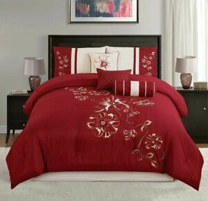 7 Piece Burgundy Red Beige Embroidered Floral Comforter Set