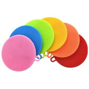 2X Silicone Dish Sponges 6 Pack Reusable Sponges for Dishes Heat Resistan V5M6