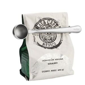 Kitchen Gadgets Tools Stainless Steel Coffee Scoop With Bag Clip Coffee Tool NEW