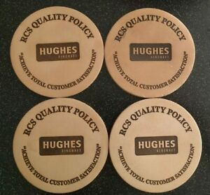 4 RARE Vintage HUGHES AIRCRAFT RCS QUALITY POLICY LEATHER BAR COASTERS DRINK $19.80