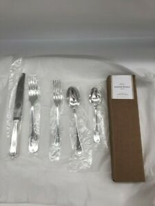 New Pottery Barn Maxfield Tumbled 5 Piece Flatware Set Silver Plated $74.66