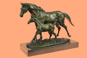 100% Solid Bronze Horse And Foal Statue Stud Race Livery Yard Sculpture Figure $349.00