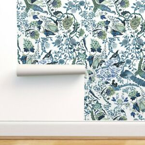 Removable Water Activated Wallpaper Chinoiserie Blue Chinese Blue Floral