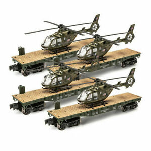 SET OF 4 O GAUGE US ARMY MILITARY FLATCARs WITH HELICOPTER LIONEL MENARDS