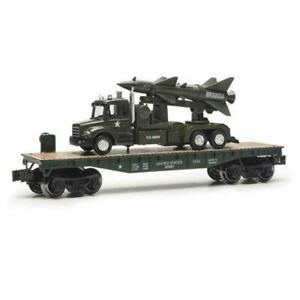 Menards O Gauge Military Flatcar with Truck amp; Missile MTH Lionel Compatible NEW