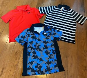 Lot of 3 Boys Under Armour Polo Shirts Loose Heatgear Camo Stripes Blue Red YLG $42.99