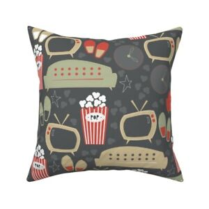 Snack Couch Tv Popcorn Slippers Throw Pillow Cover w Optional Insert by Roostery