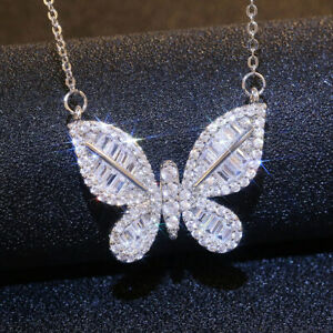 Elegant Butterfly 925 Silver Necklace Pendants Women Jewelry Free Shipping