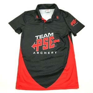 NEW PSE Archery Team Polo Dry Fit Shirt Mens Size Small S Black Red Competition $23.02