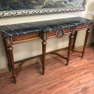 Vintage Wooden Antique American Style Italian Marble Top Console Wall Table $2299.99
