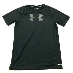Under Armour Dry Fit Shirt Youth Size Large YLG Fitted Black UPF 30 HeatGear T $18.77
