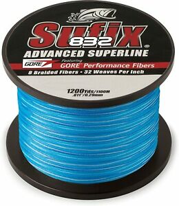Sufix 832 Advanced Superline Braid 1200 Yds Fishing Line Blue Camo Pick Class