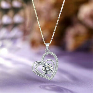 Gorgeous Heart 925 SilverGold Necklace Pendants Women Jewelry Free Shipping