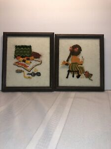 Set Of 2 Vintage Needlepoint Sewing Wall Decor Wood Framed Retro 3D Yarn Picture $25.00