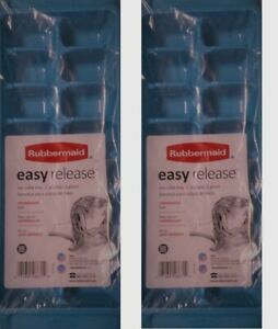 RUBBERMAID BLUE EASY RELEASE ICE CUBE TRAY 2867B SET OF 2 NEW