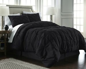 Chezmoi Collection Super Soft Pintuck Pinch Pleated Comforter Set Black