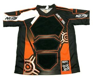 NERF Dart Tag Jersey Dry Fit Shirt Size Large L Adult Black Padded Short Sleeve $18.77