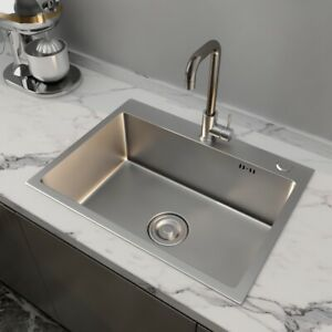 24x18quot; Stainless Steel Kitchen Sink 8quot; Deep Single Bowl Drop In w Faucet