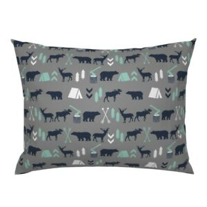 Nursery Baby Boy Camping Outdoors Woodland Bear Modern Pillow Sham by Roostery