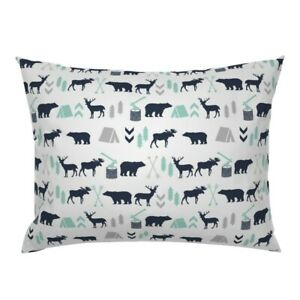 Adventure Camping White Navy Forest Woodland Boy Pillow Sham by Roostery