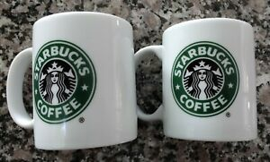 Lot of 2 Vintage 2005 Starbucks Classic Green Siren Logo 9oz Coffee Mug Set HTF