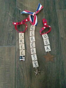 3 Patriotic Handmade Ornaments Free Liberty USA Very Cute Christmas Wine Tag