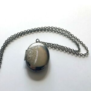 VINTAGE silver locket necklace 1 3 4quot; w floral engraving and 24quot; chain