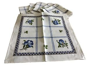 """6 Beautiful Beauville Napkins Made France Blue Different Floral 15.5""""x 15.5"""""""