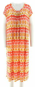 Carole Hochman Kaleidoscope and Ikat Gown and Sleepshirt Set Color Coral Size XS