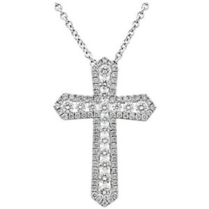 Fashion Cross 925 Silver Necklace Pendants White Sapphire Women Jewelry
