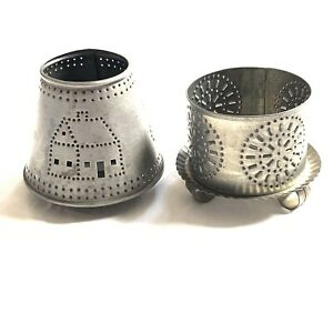Yankee Candle Lamp Shade Set Candle Holder Tin Rustic Country Farmhouse