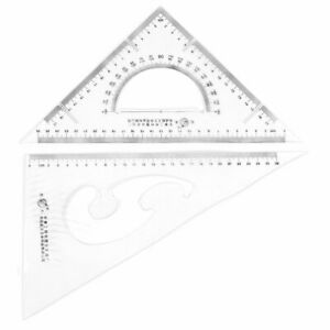 Office Plastic Drawing Tool Right Angle Triangle Ruler Combo Protractor 2 in 1 $15.52