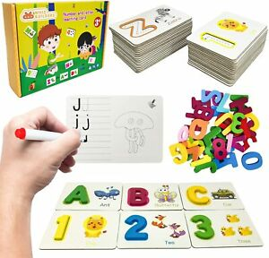 Alphabet Flash Cards Games with Wooden Number ABC Letters for Toddlers amp; Kids