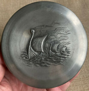 Norwegian Norway Pewter Round Trinket Box Red Felt Liner Nordland Viking Boats