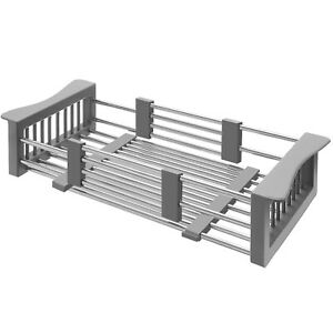 Large Stainless Steel Over the Kitchen Sink Dish Drainer Drying Basket Shelf