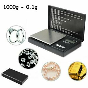 Digital Scale 1000g x 0.1g Jewelry Gold Silver Coin Gram Pocket Size Herb Grain
