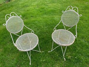 Vintage iron patio furniture chairs
